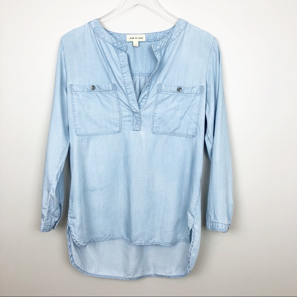 566272bb cloth & stone Tops - Cloth & Stone | Chambray Popover Top Light Wash S